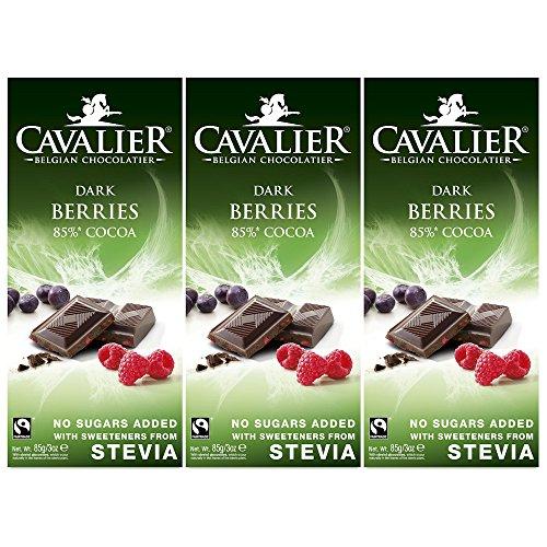 Stevia-Schokolade, Cavalier Belgian Chocolate 'Berries Dark' 3 x 85g