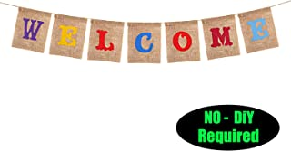 Welcome Party Banner Sign - No DIY Required/for Back to School, First Day of School Classroom Birthday Wedding Baby Shower Bunting House Home Welcome Party Decorations -Real Burlap 081