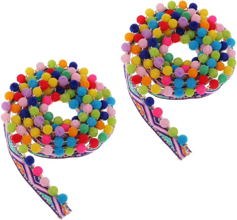 Colaxi 2 Yards Pompom online shop Trim Ball Ribbon Ultra-Cheap Deals Lace Fringe DIY Beaded Se