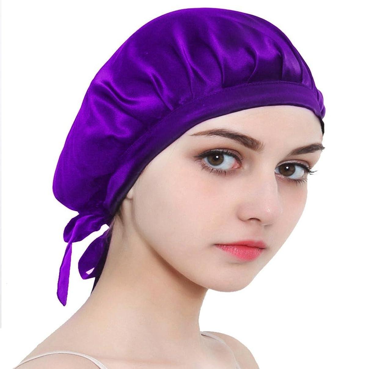 のホストエールそれによってシルクナイトキャップ シルク100% ロングヘア用 就寝用 紐付き サイズ調節可能 切れ毛予防 就寝用帽子 室内帽子 5色可選