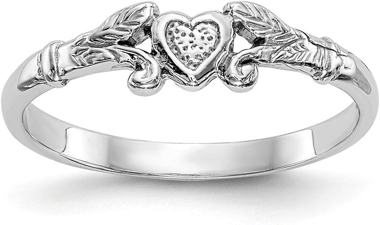 Beautiful White gold 14K 14K White gold Textured Mini Heart Baby Ring