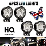 27W Round LED Work Lights Flood Spot Light Lamps For Offroad Truck Tractor
