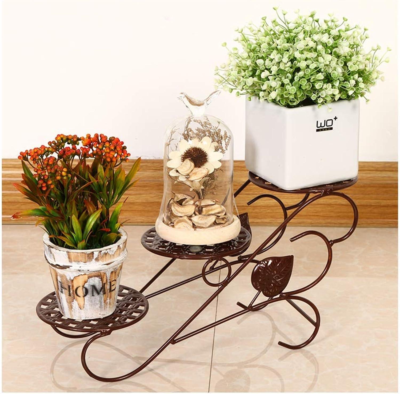 BXJ Flower Stand Flower Pot Holder Iron Art Multi-Layer Living Room Balcony Floor Standing Desk European Style Space Saving Small Flower Stand (color    1)