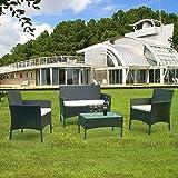 TolleTour Conjunto Muebles de Jardín Ratán de 4 plazas   Muebles para terraza/Exterior   Set de Ratán Sintético  Negro  Sofá y dos sillones, Mesa, 3 Cojines