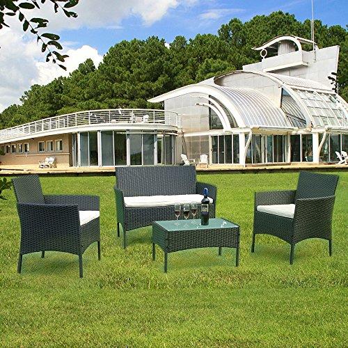 TolleTour Conjunto Muebles de Jardín Ratán de 4 plazas | Muebles para terraza/Exterior | Set de Ratán Sintético |Negro| Sofá y dos sillones, Mesa, 3 Cojines