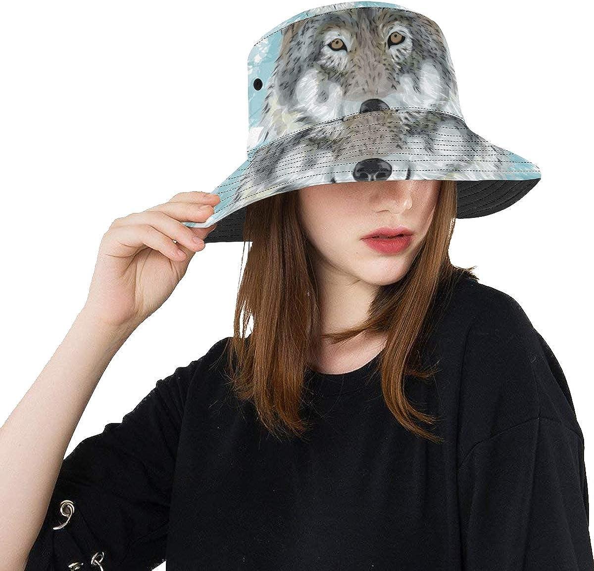 store Brand Cheap Sale Venue Cool Hats for Teen Girls Grey Summer Animal Unisex Portrait Wolf