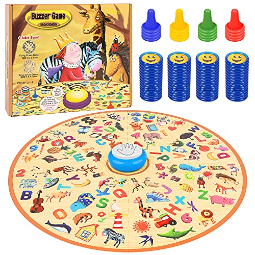 family board games BINGGOO Family Board Games with Answer Buzzer, Quick Thinking Matching Games for Kids 4 - 10 Years Old, Kids Ludo Board Game, Children Interactive Answer Race Toy for 2-4 Players