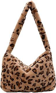 Women Girls Ladies Fluffy Shoulder Bag Plush Handbag Wallet Tote Bag for Autumn and Winter (Color : Light Brown)