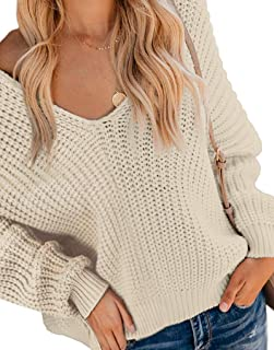 PARICI Women's Long Sleeve Waffle Knit Top Off Shoulder V Neck Pullover Sweater