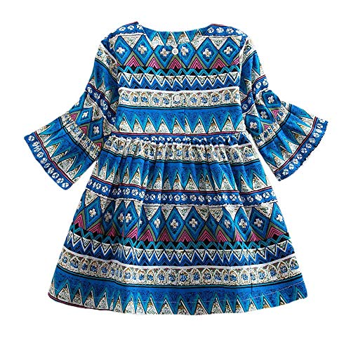 KUKICAT Robe Enfant Bohemian Print Princess Dress, Cotton Géométrique La Mode Casual Chic Extérieur Pas Cher Costume De Princesse Mini Dress