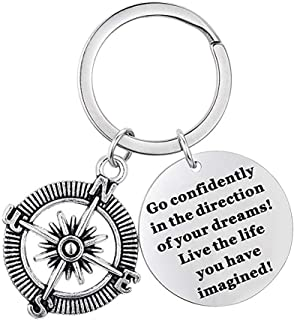 Inspirational Graduation Keychains Gifts for Her Him Graduates Compass Engraved Key Chains Gifts for Women Men