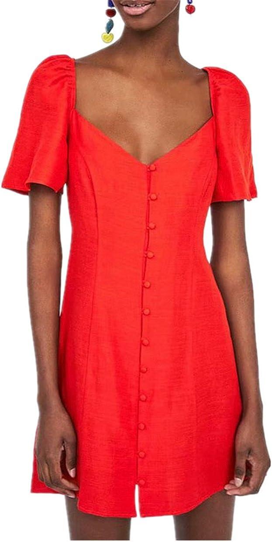 pincessdresscode Women Short Dress with Puff Sleeves