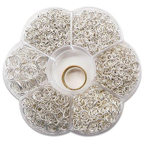 TOAOB 1500 Stück Biegeringe Spaltringe Silberton 4mm bis 10mm Metall Kettenringe mit Ring Öffner für Perlenweben Zubehör