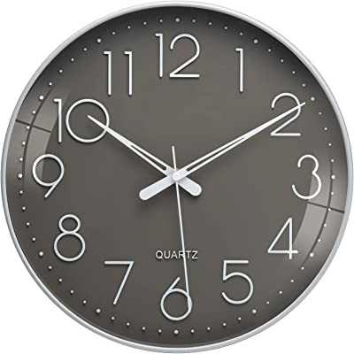 12 Inch Wall Clock - Battery Operated Slient Non Ticking Wall Clocks Home Decor Clock for Kitchen,Office,School, Dark Gray White