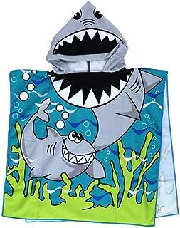 Kids Cartoon shark Beach Swim Pool Towel Toddler Baby Children Bath Shower Towel Bathrobe Hooded Poncho For 2-10 Years Old...