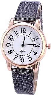Relógio de pulso analógico feminino Lightclub Glitter de couro sintético com números arábicos e mostrador redondo de quartzo - branco