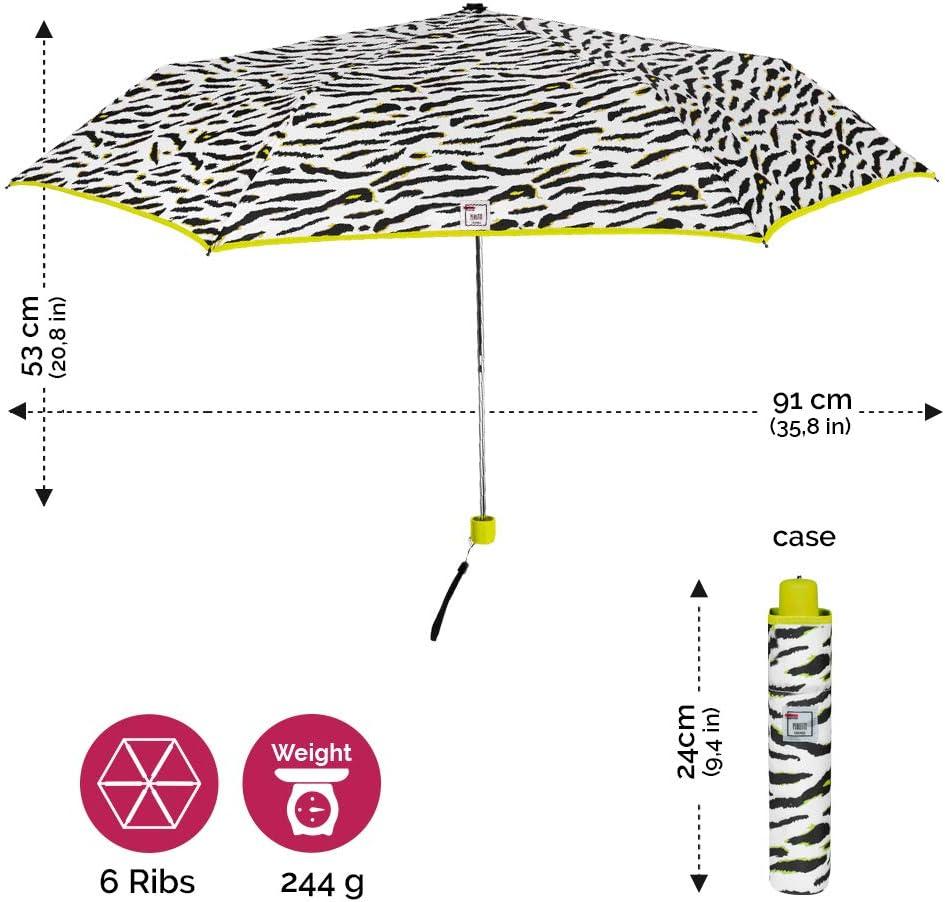 Perletti Trend Diam 91 cm Parapluie Pliable Petit Coupe Vent Vert Citron Super Compact Parapluie Z/ébr/é de Poche Femme Mini Parapluie Animalier Pliant de Voyage avec Bordure Fluo