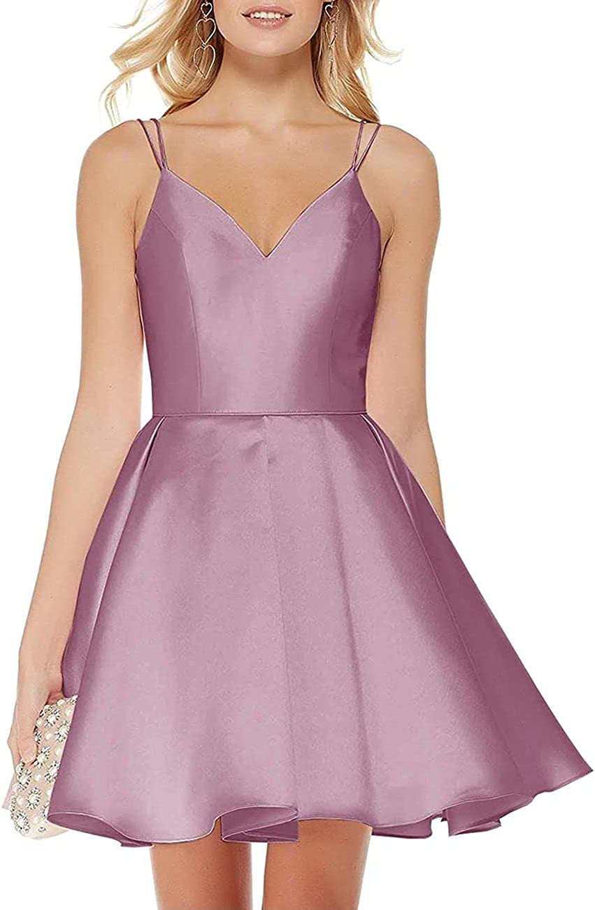D/N Short Satin Homecoming Dresses for Teens Plus Size Dresses V Neck Spaghetti Strap Wedding Guests Dresses with Pockets