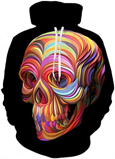 MIGAGA 3D Painted Colorful Skull Hoodies Sweatshirt Unisex Men 3D Hoody Tracksuit