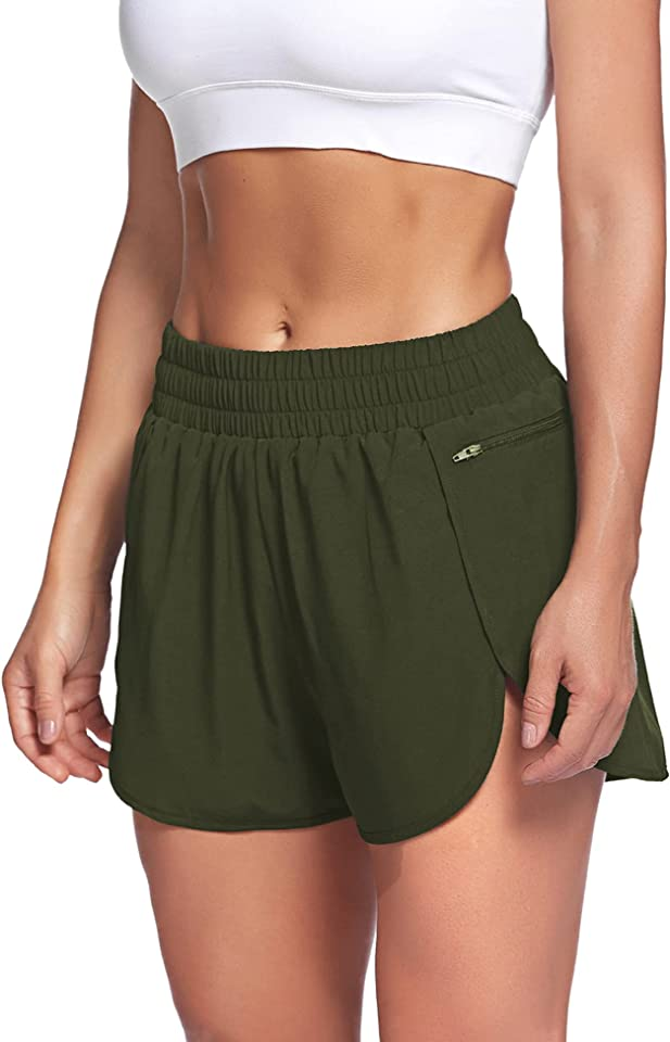 LaLaLa Womens Workout Shorts with Zip Pocket Quick-Dry Athletic Shorts Sports Elastic Waist Running Shorts with Liner