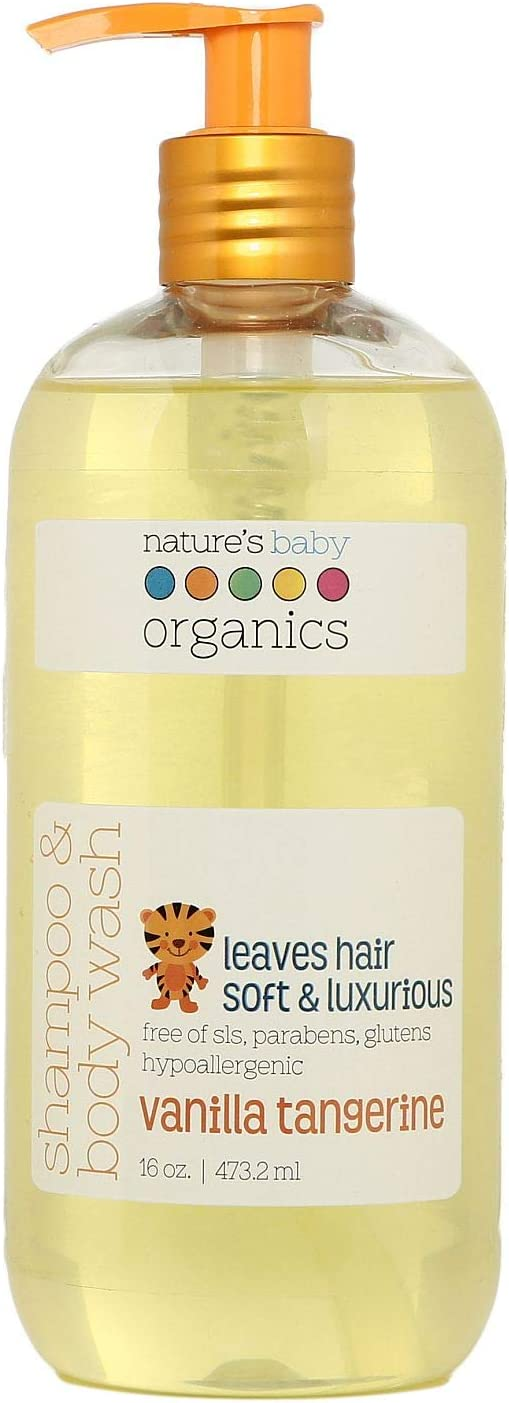 Nature's Baby Organics 3 -in-1 Baby Shampoo, Body Wash and Face Wash, Formulated Specifically for Problem and Sensitive Skin, No Sulfate or Artificial Fragrances, Vanilla Tangerine, 16 Oz