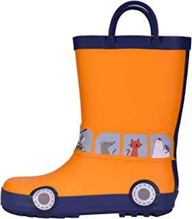 WDSAFSLO Kids Rain Boots, Toddler Rain Boots for Boys Girls in Fun Patterns
