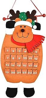 CapsA-Christmas Advent Calendar 3D Santa Felt Haning Countdown Calendar with 24 Days Pockets Xmas Advent Calendar Ornaments for Kids Home Office Door Wall Décor