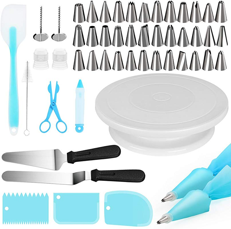 Puroma 11 Inch Rotating Cake Turntable 52 Pcs Stand Spinner Baking Decorating Supplies With 36 PCS Icing Tips 3 Icing Smoother 2 Reusable Pastry Bags Cake Server And More Accessories Blue