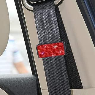 SAVORI Car Seat Belt Adjuster, Seat Belt Buckle Clip Clamp Bling Universal Auto Shoulder Neck Strap Positioner Locking Clip Suitable for Most Cars(Red)
