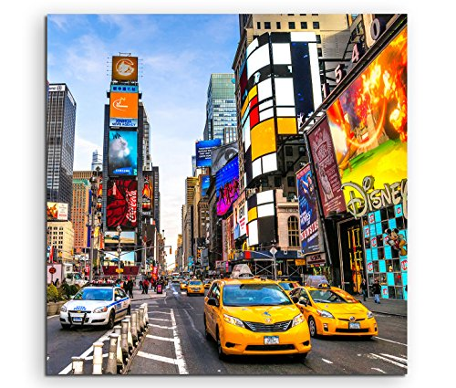 Sinus Art Wandbild quadratisch 60x60cm Urbane Fotografie – Times Square am Tag in New York