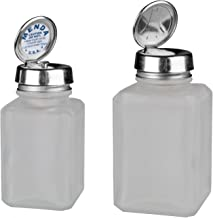 Menda MDA-4444 4oz Pure Touch and 6oz One Touch Square Frosted Glass Bottles Kit with Stainless Steel Closure, Clear