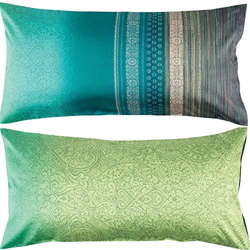 Bassetti Funda de cojín (algodón, 40 x 80 cm), Color Verde