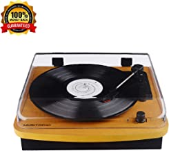 Belt-Drive Wood Turntable 3 Speed Retro&Modern DJ Vinyl LP Records Player with Stereo Speakers Supporting Vinyl to MP3 Converter (GT201)