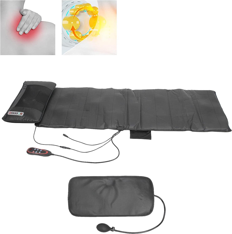 Almohadilla calefactora y de masaje para aliviar el dolor de cuello y hombros, 9 engranajes, masaje de masaje vibratorio, almohadilla para colchón, cojín para silla, para la espalda(EU)