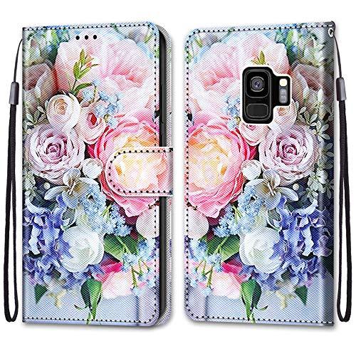 Nadoli Handyhülle Leder für Samsung Galaxy S9 Plus,Bunt Bemalt Rosa Strauß Trageschlaufe Kartenfach Magnet Ständer Schutzhülle Brieftasche Ledertasche Tasche Etui