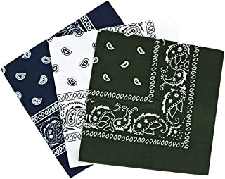 By Neki Paisley Bandanas Headband Scarf Pack Of 3 Mixed Colours Cotton Paisley Print, Fashion Hair Accessory, Sports, Mult...