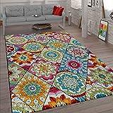 Paco Home Kurzflor Teppich Wohnzimmer Bunt Retro Design Mandala Muster Design Boho Stil, Grösse:120x170 cm