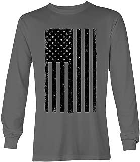 Distressed Black USA Flag - United States Unisex Long Sleeve Shirt