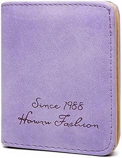 VWH Ladies Wallet Thin Short Section Student Wallet Female Scrub Multi-Card Wallet (Purple)
