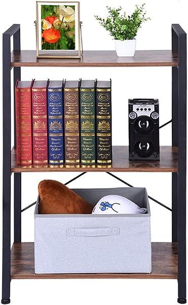 Open Narrow Bookshelf Mosunx Antique Wood Color Industrial Bookcase Vintage Storage Shelf Rack For Bedroom Restaurant Cafe Office Antique Wood Color 3 Tier