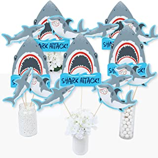 Big Dot of Happiness Shark Zone - Jawsome Shark Viewing Week Party or Birthday Party Centerpiece Sticks - Table Toppers - Set of 15