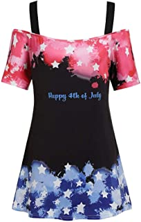 Han Shi Womens Fashion 4th of July USA Flag Printed T-Shirt Strap Off Shoulder Blouse Top