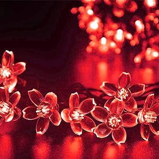 Kuber Industries 28 Led Direct Plug Crystal Flower Designer 10 Meter String Light for Festivals and Home Decoration, Red-CTKTC22923