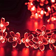 Kuber Industries 28 Led Direct Plug Crystal Flower Designer 10 Meter String Light for Festivals and Home Decoration, Red-CTKTC22923
