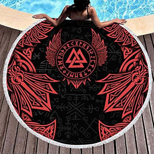 Tobgreatey Toalla de playa redonda con borlas vikingas, Valknut Odin alas de cuervo nudos, toalla de ducha para amigos, color blanco 3 150 cm