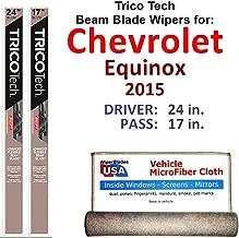 Beam Wiper Blades for 2015 Chevrolet Equinox Driver & Passenger Trico Tech Beam Blades Wipers Set of 2 Bundled with Bonus MicroFiber Interior Car Cloth