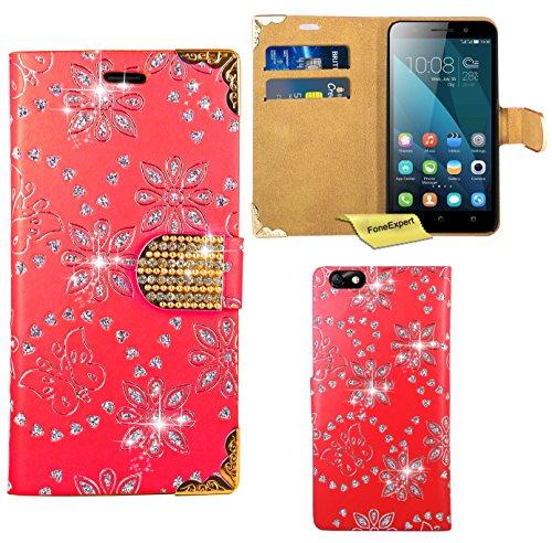 Huawei Honor 4X Handy Tasche, FoneExpert® Bling Luxus Diamant Hülle Wallet Case Cover Hüllen Etui Ledertasche Premium Lederhülle Schutzhülle für Huawei Honor 4X (Rot)