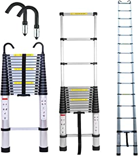 3.2M Extension Attic Ladder Telescopic with Hooks Steps Aluminim 10.5ft Extend 330lbs Max Capacity Mutil Purpose Straght Ladders Safe for Roof Office Home Household Daily Loft Lighweight Portable
