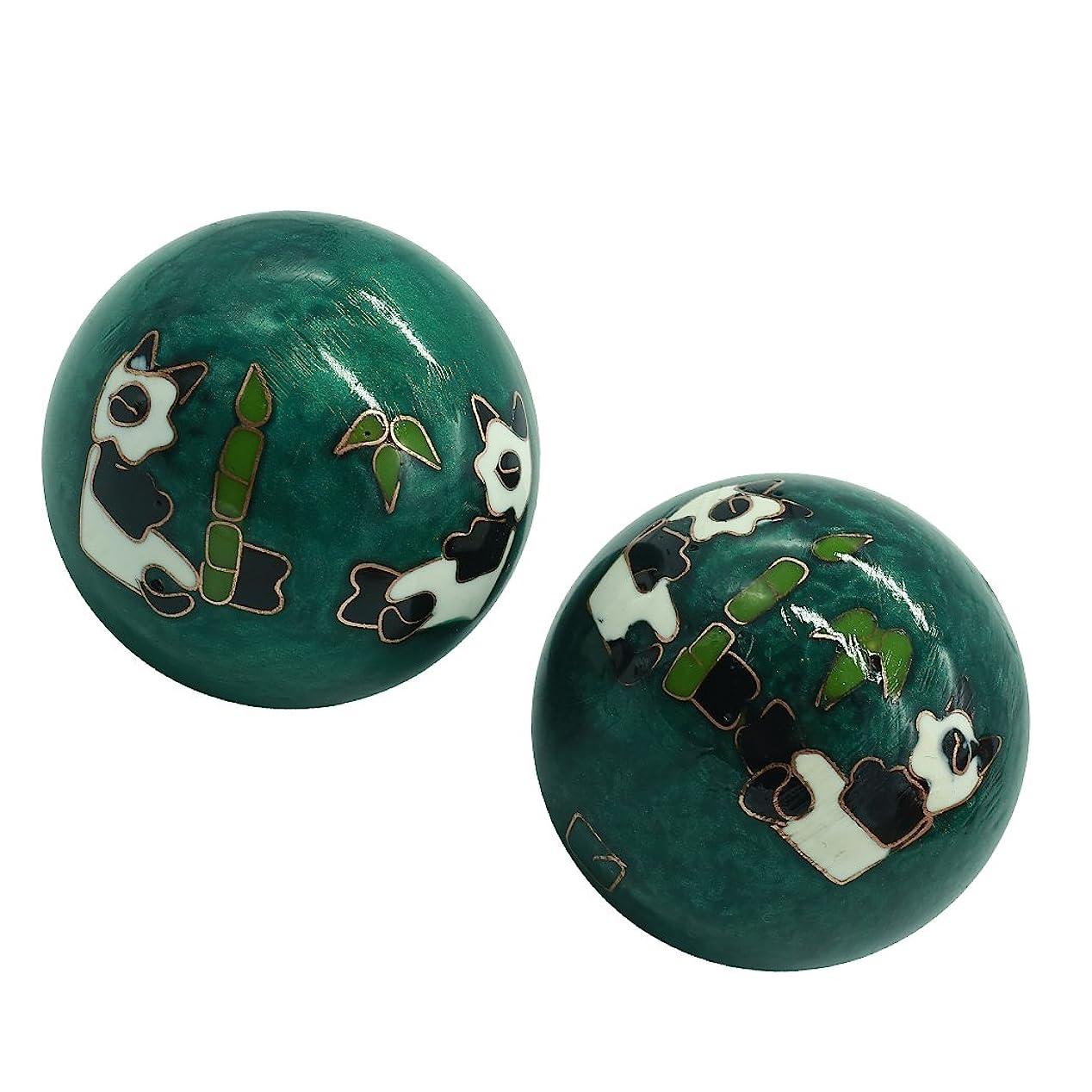 好きであるスーツ簿記係風水グッズ 健康球 健身球 脳 活性 ストレス トレーニング器具 手の機能回復 2個 パンダ (グリーン, 35mm) INB168