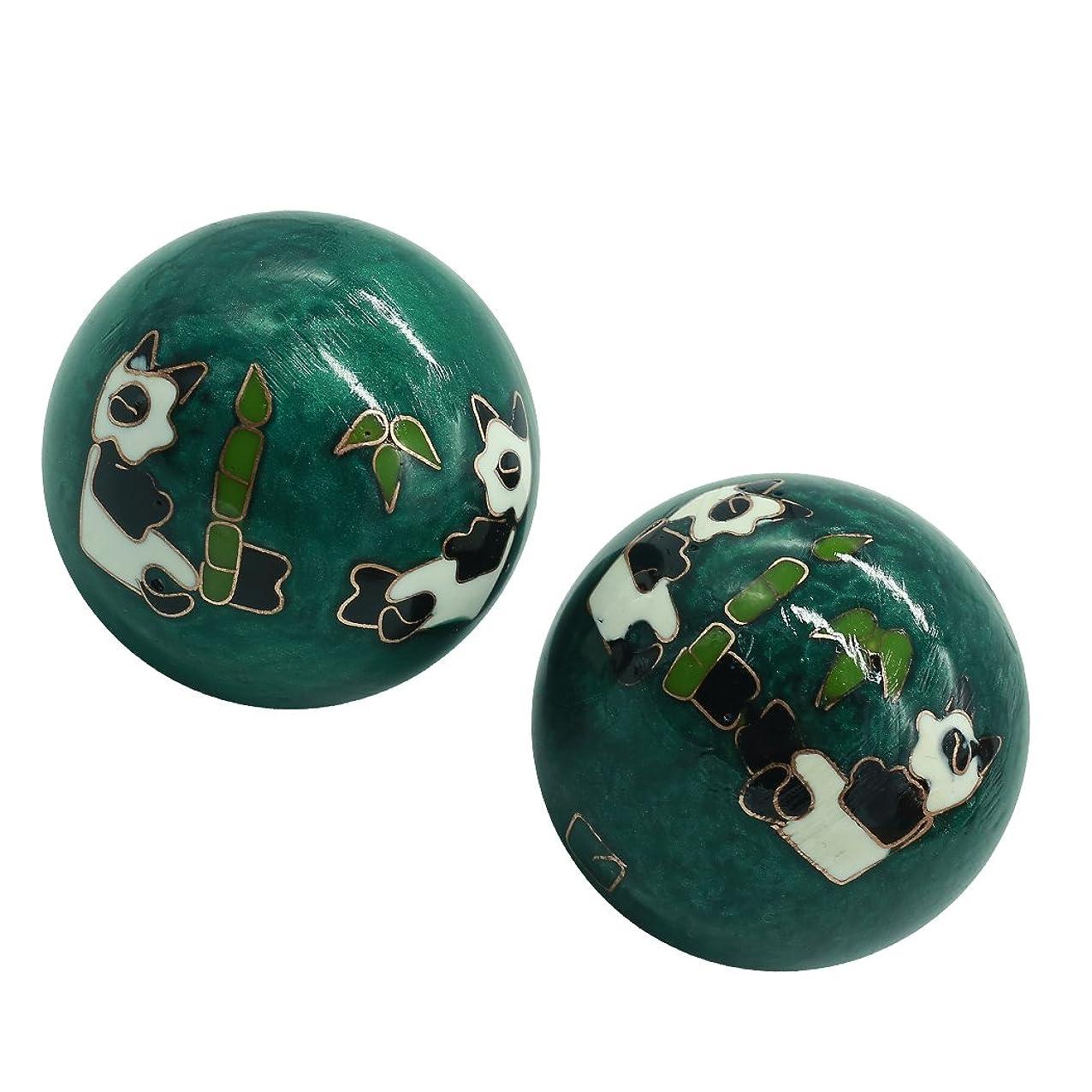 バッチ効果推進、動かす風水グッズ 健康球 健身球 脳 活性 ストレス トレーニング器具 手の機能回復 2個 パンダ (グリーン, 35mm) INB168